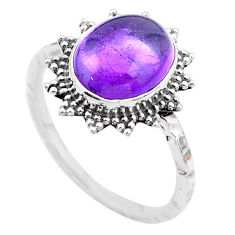 3.98cts solitaire natural purple amethyst oval 925 silver ring size 8.5 t25323