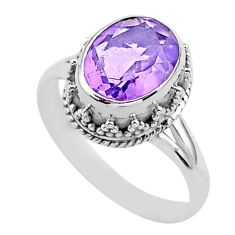4.02cts solitaire natural purple amethyst oval 925 silver ring size 7.5 t37913