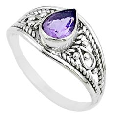 1.83cts solitaire natural purple amethyst pear 925 silver ring size 8.5 t51955