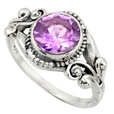 3.10cts solitaire natural purple amethyst round 925 silver ring size 7.5 r41884