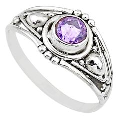 0.74cts natural cut amethyst round graduation handmade ring size 7 t9687