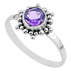 1.14cts solitaire natural purple amethyst round 925 silver ring size 6.5 t52050