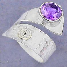 3.19cts solitaire natural purple amethyst silver adjustable ring size 7 t8759