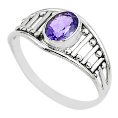 1.42cts solitaire natural purple amethyst silver ring jewelry size 6.5 t51941