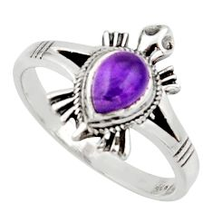 1.46cts solitaire natural purple amethyst silver tortoise ring size 8.5 r40658