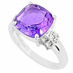 6.12cts solitaire natural purple amethyst topaz 925 silver ring size 7 t7357
