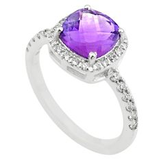 5.22cts solitaire natural purple amethyst topaz 925 silver ring size 8 t43146