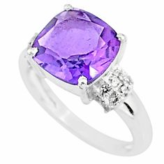6.04cts solitaire natural purple amethyst topaz 925 silver ring size 8 t7353