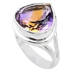 12.72cts solitaire natural purple ametrine 925 silver ring size 7 t45095