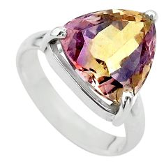 7.91cts solitaire natural purple ametrine 925 silver ring size 6.5 t24233