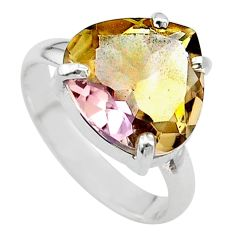 7.91cts solitaire natural purple ametrine 925 silver ring size 8.5 t24236