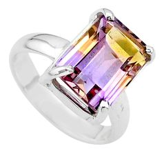 4.70cts solitaire natural purple ametrine 925 silver ring size 6.5 t24259
