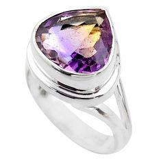 7.13cts solitaire natural purple ametrine 925 silver ring size 6.5 t45100