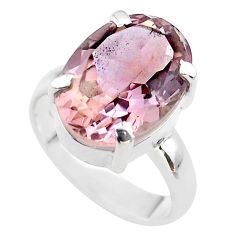 6.33cts solitaire natural purple ametrine 925 sterling silver ring size 5 t45121