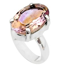 7.53cts solitaire natural purple ametrine 925 sterling silver ring size 5 t45140
