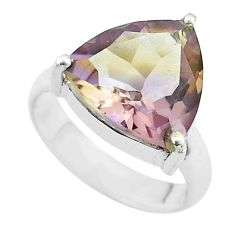 6.04cts solitaire natural purple ametrine 925 sterling silver ring size 5 t50230