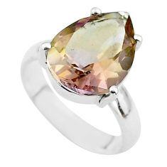 5.63cts solitaire natural purple ametrine 925 sterling silver ring size 5 t50254