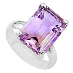 6.75cts solitaire natural purple ametrine 925 sterling silver ring size 6 t24238
