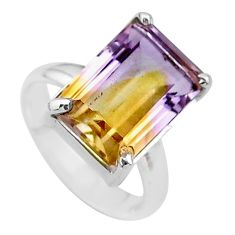 6.53cts solitaire natural purple ametrine 925 sterling silver ring size 6 t24254