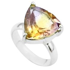 6.36cts solitaire natural purple ametrine 925 sterling silver ring size 6 t50203