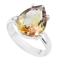 6.04cts solitaire natural purple ametrine 925 sterling silver ring size 6 t50211