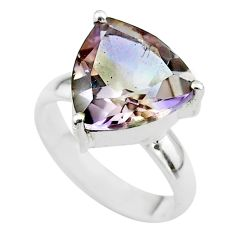 6.38cts solitaire natural purple ametrine 925 sterling silver ring size 6 t50216