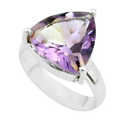 6.72cts solitaire natural purple ametrine 925 sterling silver ring size 6 t50221