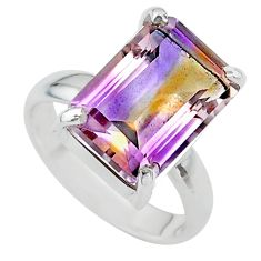 6.80cts solitaire natural purple ametrine 925 sterling silver ring size 7 t24228