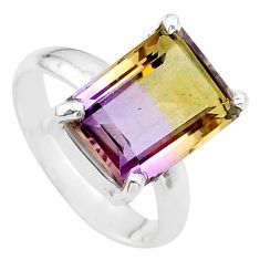 5.58cts solitaire natural purple ametrine 925 sterling silver ring size 7 t24243