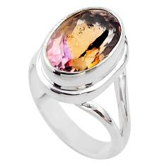6.53cts solitaire natural purple ametrine 925 sterling silver ring size 7 t45085