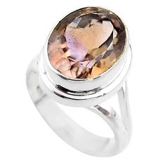 7.36cts solitaire natural purple ametrine 925 sterling silver ring size 7 t45097