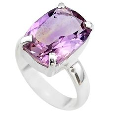 6.28cts solitaire natural purple ametrine 925 sterling silver ring size 7 t45133
