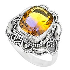 5.31cts solitaire natural purple ametrine 925 sterling silver ring size 8 t15534