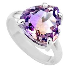 6.55cts solitaire natural purple ametrine 925 sterling silver ring size 8 t24222