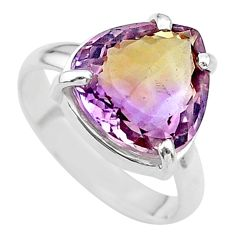 6.54cts solitaire natural purple ametrine 925 sterling silver ring size 8 t24248