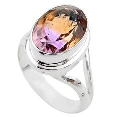 6.02cts solitaire natural purple ametrine 925 sterling silver ring size 8 t45081