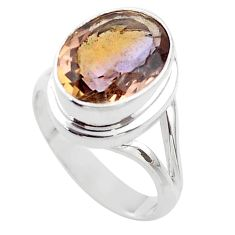 7.02cts solitaire natural purple ametrine 925 sterling silver ring size 8 t45093