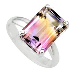 6.54cts solitaire natural purple ametrine 925 sterling silver ring size 9 t24221