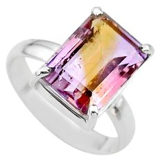 6.53cts solitaire natural purple ametrine 925 sterling silver ring size 9 t24245