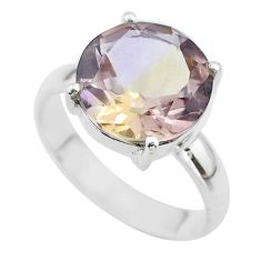 6.47cts solitaire natural purple ametrine 925 sterling silver ring size 9 t50290
