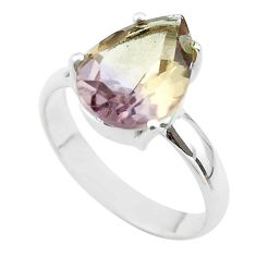 6.26cts solitaire natural purple ametrine 925 sterling silver ring size 9 t50292