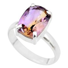 6.58cts solitaire natural purple ametrine octagan silver ring size 12 t45122