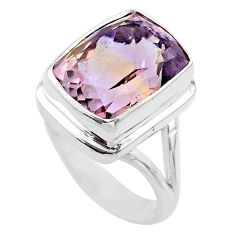 7.54cts solitaire natural purple ametrine octagan silver ring size 7.5 t45096