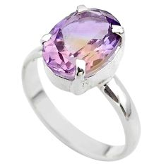 6.28cts solitaire natural purple ametrine oval 925 silver ring size 11 t45130