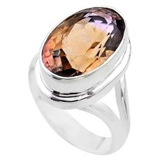 7.36cts solitaire natural purple ametrine oval 925 silver ring size 6.5 t45090