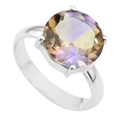 7.02cts solitaire natural purple ametrine round 925 silver ring size 10 t50249