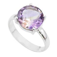 6.53cts solitaire natural purple ametrine round 925 silver ring size 11 t50275