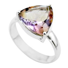 6.27cts solitaire natural purple ametrine trillion 925 silver ring size 9 t50282