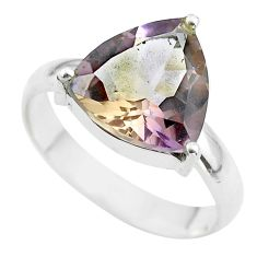 7.03cts solitaire natural purple ametrine trillion silver ring size 10 t50246