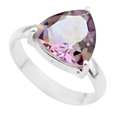 6.82cts solitaire natural purple ametrine trillion silver ring size 10 t50247